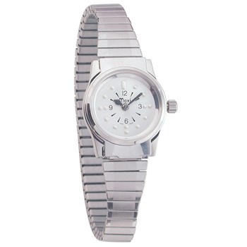 Ladies Chrome Quartz Braille Watch with Chrome Expansion Band