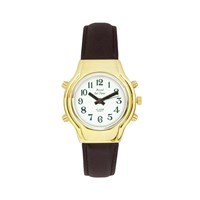 Ladies Royal Tel-Time Talking Watch - White Dial - Black Leather Band