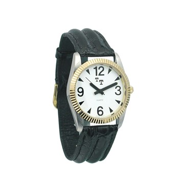 Low Vision Watch- Mens w-White Face, Leather Band