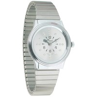 Mens Chrome Quartz Braille Watch with Chrome Expansion Band
