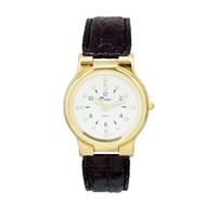 Mens President Gold-Tone Quartz Braille Watch with Leather Band