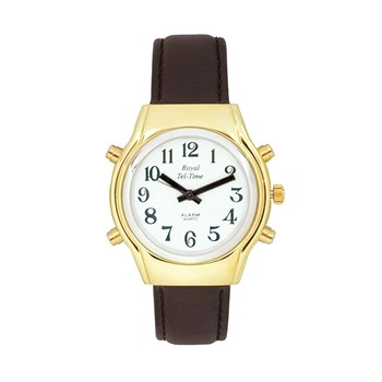 Mens Royal Tel-Time Bi-Color Talking Watch - White Dial - Leather Band