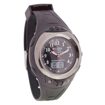 Reizen Digital Analog Water-Resistant Talking Watch- Black