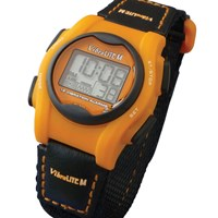VibraLITE Mini Vibration Watch-Black-Orange Hook-Loop Band