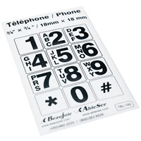Picture of Telephone Stickers - Black on White - Alphanumeric