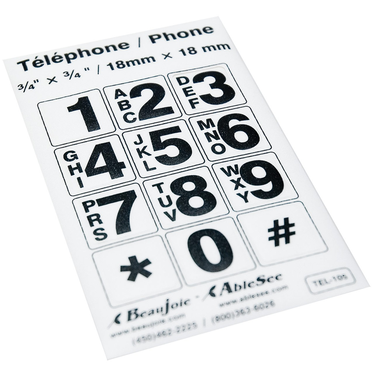 Telephone stickers black on white alphanumeric