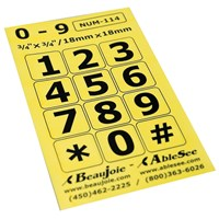 Picture of Telephone Stickers - Black on Yellow - Numbers Only