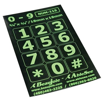 Telephone Stickers - Green on Black - Numbers Only