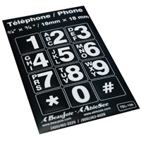 Telephone Stickers - White on Black - Alphanumeric