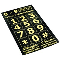 Telephone Stickers - Yellow on Black - Numbers Only