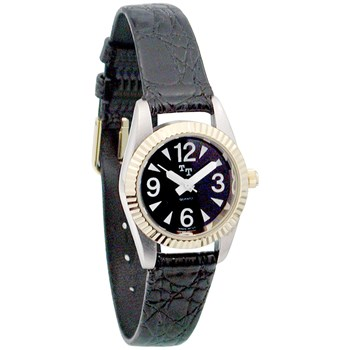 Low Vision Watch- Womens w-Black Face,Leather Band
