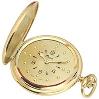 Mens Gold-Tone Quartz Pocket Braille Watch