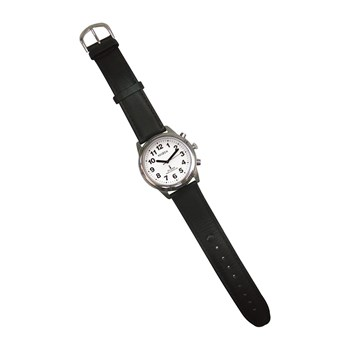 Talking Radio-Controlled Stainless Steel Watch - Leather