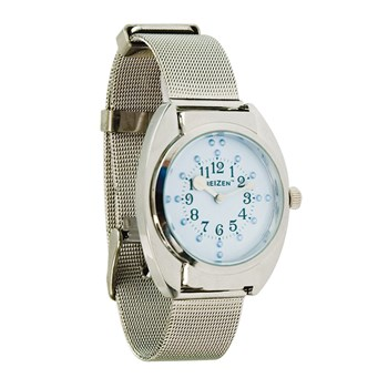 Unisex Braille Watch-Chrome-Steel Mesh Band-Blue Dial