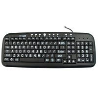 EZ See Large Print Keyboard-Black Keys-White Print