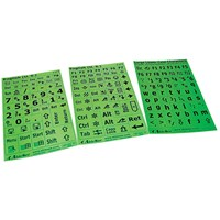Keyboard Large Print Labels - Black on Green - Lower Case