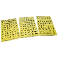 Keyboard Large Print Labels - Black on Yellow - Lower Case