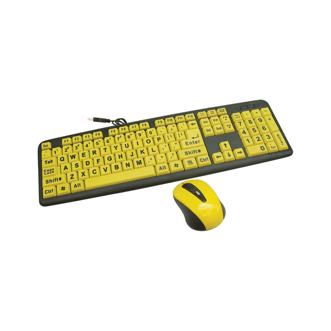 MaxiAids | Large Print Wired Keyboard and Wireless Mouse Set