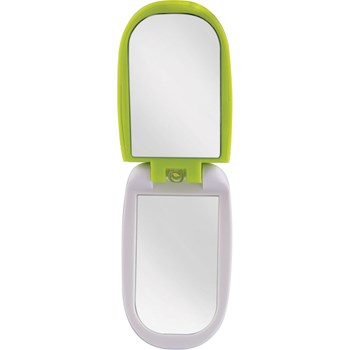 LED Lighted Compact Mirror with LCD Clock 3X-1X