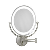 LED Lighted Wall Mount Oval Make-Up Mirror 10X-1X