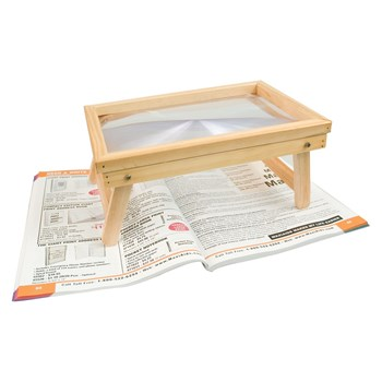 Reizen Foldable Hands Free Magnifier with Wooden Frame Table Stand