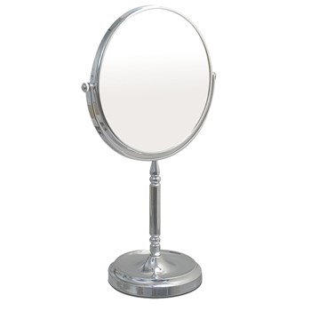 Tall Vanity Stand Chrome Mirror with Recessed Base