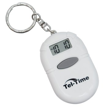 Oval Talking Alarm Clock Keychain - White