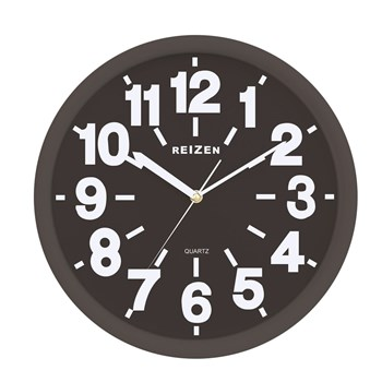 Reizen Low Vision Quartz Wall Clock -Black Face with White Numbers