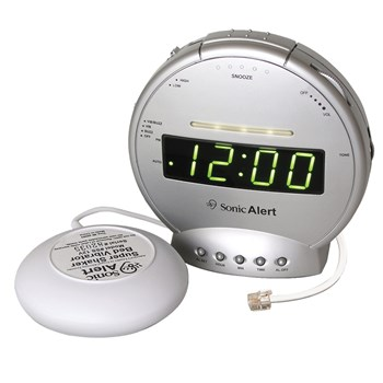 Sonic Alert Clock with Bed Shaker and Phone Signaler