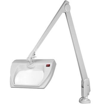 Dazor Stretchview 42-Inch Clamp Base LED Magnifier 3D 1.75X - White