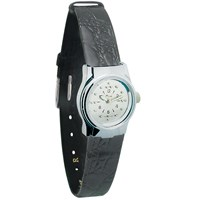 Ladies Chrome Quartz Braille Watch with Leather Band