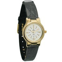 Ladies Gold-Tone President Quartz Braille Watch with Leather Band