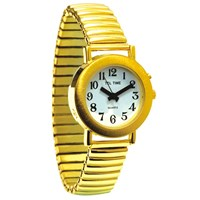 Ladies Gold Spanish Talking Watch - One Button Expansion Band