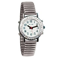 Ladies Talking Watch with Rhinestone Bezel and Expansion Band -Spanish