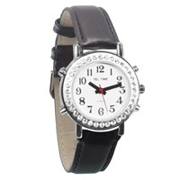 Ladies Talking Watch with Rhinestone Bezel and Leather Band -Spanish