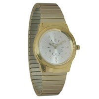 Mens Gold-Tone Quartz Braille Watch with Gold-Tone Expansion Band
