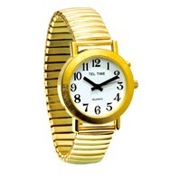 Mens Gold-Tone Spanish Talking Watch - One Button Expansion Band