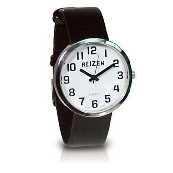 Reizen Low Vision Unisex Watch- Black Leather Band