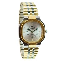 Reizen Mens Bi-Color Square Braille Watch-Exp Band