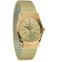 REIZEN Mens Braille Watch -Gold-Tone, Exp. Band