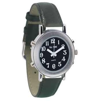 Tel-Time Ladies Chrome Talking Watch - Black Face, Leather Band