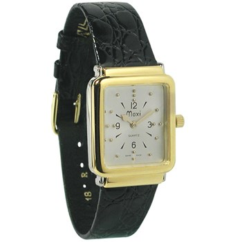 Unisex Bi-Color Quartz Braille Watch with Leather Band