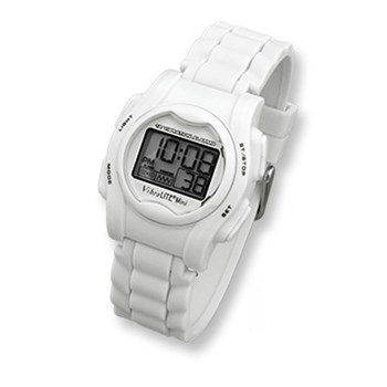 VibraLITE Mini Vibration Watch-White Silicone Band with Steel Buckle