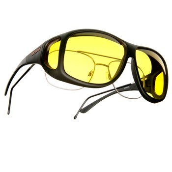 Cocoons Low Vision XL Aviator Black Fr-Lemon Lens