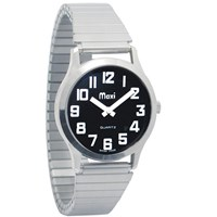 Mens Chrome Low Vision Watch, Black Face, Expansion Band
