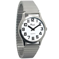 Mens Chrome-Low Vision Watch - Expansion Band