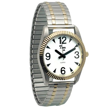 Mens Low Vision Watch- White Face w-Exp Band