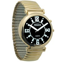 Reizen Low Vision Watch- Black Face w-Exp Band