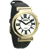 REIZEN Low Vision Watch White Face - Leather Band