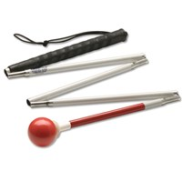 Ambutech Alum. 5-Sec. Folding Cane- Red Ball-62-in